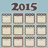 Calendar 2015 design. Geometric pattern backgrounds. Vector illustration Royalty Free Stock Image