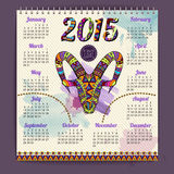 Calendar 2015 design with goat Stock Images
