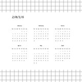 2016 calendar design in minimalistic style (January-June). 2016 calendar design in minimalistic style with grid background (January-June). Week starts with Royalty Free Stock Photo