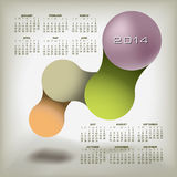 2014 Calendar with design. A monthly 2014 Calendar with a colorful, artistic design vector illustration