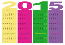 Calendar 2015. Design of a new calendar 2015 in english Vector Illustration