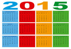 Calendar 2015. Design of a new calendar 2015 in english Royalty Free Illustration
