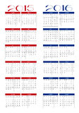 Calendar 2015 and 2016 Royalty Free Stock Photo