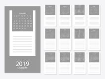 2019 Calendar template design. 2019 calendar design print template with place for photo and company logo. Week starts on sunday. Set of 12 months Royalty Free Stock Images