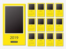 2019 Calendar template design. 2019 calendar design print template with place for photo and company logo. Week starts on sunday. Set of 12 months Royalty Free Stock Photography
