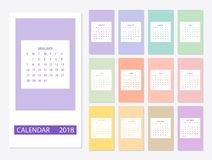 2018 Calendar template. 2018 calendar design print template with place for photo. Week starts on sunday. Set of 12 months Stock Photos