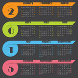 2015 calendar design with ribbons. 2015 calendar design with colorful ribbons on dark background Royalty Free Stock Images