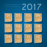 2017 calendar design. With stickers Stock Photo
