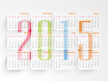 2015 calendar design. Stylish 2015 calendar design with beautiful text on white background Royalty Free Stock Photo