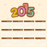 2015 calendar design with stylish text. Royalty Free Stock Photo