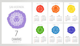 Calendar 2016 design template with 7 chakras set of 12 months , the symbol of Hinduism, Buddhism. Stock Image