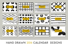2016 Calendar Design Template. Each card is scalable to A4 size, printable. Abstract brush strokes black on white background and details in gold Royalty Free Stock Image