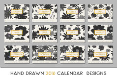 2016 Calendar Design Template. Each card is scalable to A4 size, printable. Hand painted floral elements in dark gray and black on cream white background and Stock Images