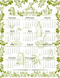 Vector olives olive oil calendar 2018 design. Calendar 2018 design template of olive oil and green and black olives for extra virgin product bottle. organic Royalty Free Stock Photo