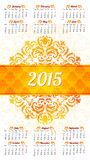 Calendar 2015 design template Royalty Free Stock Photography