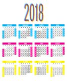 2018 Calendar Design Template Vector Illustration. Simple Clear With CMY Color Theme Week Start from Sunday Stock Images