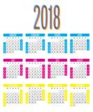 2018 Calendar Design Template Vector Illustration Stock Images