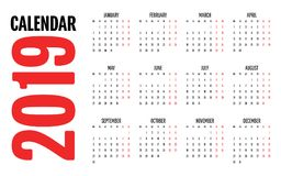 2019 Calendar Design Template Vector Illustration. Simple Clear Week Start from Monday Royalty Free Stock Images