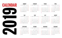 2019 Calendar Design Template. Vector Illustration Simple Clear Week Start from Sunday Royalty Free Stock Photo