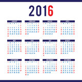 Calendar 2016 design template in vector. Week starts sunday Stock Photo