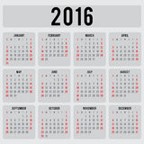 Calendar 2016 design template in vector Stock Images