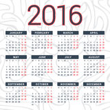 Calendar 2016 design template in vector. Week starts sunday Royalty Free Stock Images