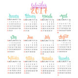 Calendar 2017 design template vector  on the white background. The first day of the week is Sunday. Set of 12. Months lettering inscription, separate on Royalty Free Stock Photography