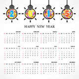 Calendar 2015 design template week starts Sunday. Stock Photo