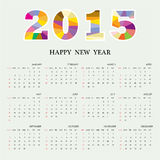 Calendar 2015 design template week starts Sunday. Royalty Free Stock Image