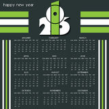 Calendar 2016 design template with white and green colors Stock Image