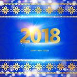 Calendar design template. 2018 year calendar design template. Holiday label with numbers over blue backdrop with ornamental border. Vector illustration Stock Photo