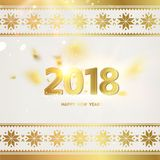 Calendar design template. 2018 year calendar design template. Holiday label with numbers and golden confetti over gray backdrop with ornamental border. Vector Stock Photos