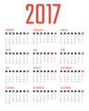 Calendar 2017 Design. Vector Illustration of flat calendar 2017 for Design, Website, Background, Banner. Minimalism Template for your company brand Calender vector illustration