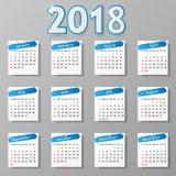 Calendar design. Vector illustration. 2018 year calendar design. Vector illustration Eps 10 vector illustration