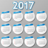 Calendar design. Vector illustration. 2017 year calendar design. Week Starts Sunday. Vector illustration Stock Photo