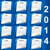 2014 calendar design - week starts with monday Royalty Free Stock Images