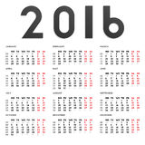 2016 calendar Royalty Free Stock Photos