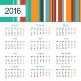 Calendar 2016 design. Week starts on Monday Stock Photo