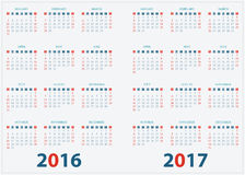 Calendar for 2016 2017 design. Stock Image