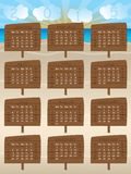 2015 calendar design with wooden signs. And cloud numbers Stock Photo