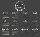 2017 Calendar Design with Wreath. Easy to manipulate, re-size or colorize Stock Photo