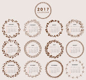 2017 Calendar Design with Wreath. Easy to manipulate, re-size or colorize Royalty Free Stock Images