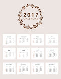 2017 Calendar Design with Wreath. Easy to manipulate, re-size or colorize Stock Photography