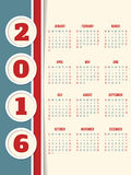 Calendar design for year 2016 with circles Royalty Free Stock Photography