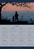 Calendar design 2016 year. Fishing Royalty Free Stock Photos