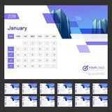 Calendar design for the year 2019. 12 month calendar design for 2019 year Stock Illustration