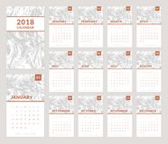 2018 calendar design. Calendar for the Year 2018. Vector template with trendy and stylish marbling background. Set of 12 monthly pages and cover. Week starts on Stock Photos