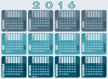 Calendar 2016 designed with full name of days and assorted gray nuances Stock Photography