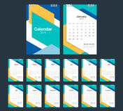 2018 Calendar. Desk Calendar modern design template.. 2018 Calendar. Desk Calendar modern design template. Week starts Sunday. Vector illustration Royalty Free Stock Images