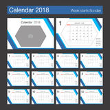 2018 Calendar. Desk Calendar modern design template with place f. Or photo. Week starts Sunday. Vector illustration Stock Photography